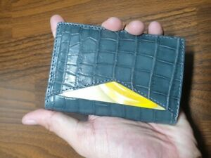 gray doubleside GENUINE CROCODILE belly Leather Skin cardholder
