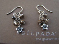 Silpada HTF Sterling Silver Bronzite Smoky Quartz Flower Earrings W1763 RARE