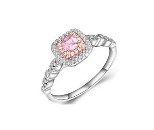 Luxurious 3.00 CTTW Pink Sapphire Princess Cut Two Row Halo Ring | US Seller