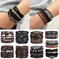 Fashion Mens Handmade Leather Braided Surfer Wristband Punk Bracelet Bangle Wrap