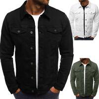 Mens Denim Jacket Motorcycle Coat Outdoor Shirt Jacket Autum Turn-down Collar NG