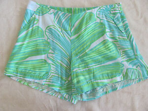 Lilly Pulitzer Jeannie Shorts-Green Sheen-Fronds Place-Side Zip-Size 00- NWT $76