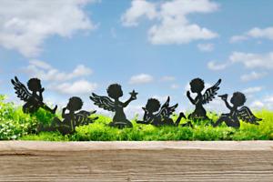6 Dekostecker ENGEL schwarz Metall Gartenstecker Weihnachten Deko Figur Pflanzen
