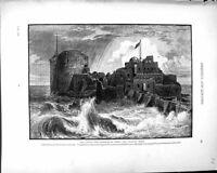 Antique Print *1042 Palestine 1881 Castle Harbour Saida Ancient Sidon Bahr
