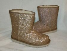 Ugg Girls Classic Short Ii Boots Glitter Gold Water Resistant Toddler Youth Size