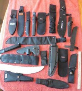 Sheath LOT Knife Holster holder Canvas Plastic Camillus SOG Aero Blades MTech ++
