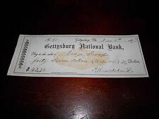 Gettysburg National Bank Check Signed By George Swope Gettysburg