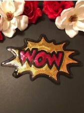 Sequin WOW  Word Letters Embroidered Iron on Fashion Patch DIY Jacket Large