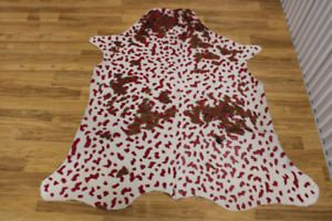 """Acid Wash Red on Tricolor Cowhide  - (XL 6'3""""x6' Ft) - Approx 36 sqft -  Premium"""
