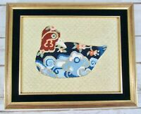 Duck Needlepoint Asian Floral Gold Blue Cloisonne Handmade Framed Velvet Vtg