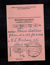 1941 Siebersdorf Germany Dachau Concentration Camp money order Receipt KZ