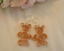 Handcrafted Paper Quill Brown Teddy Bear Earrings