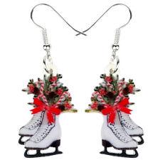 Acrylic Christmas Flower Skates Earrings Drop Dangle Gift Jewelry For Women Kids
