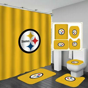Pittsburgh Steelers Bathroom Rug Bath Mat Shower Curtain Toilet Lid Cover 4PCS
