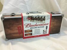 Budweiser Original Grilling Suitcase Clydesdale Wood Case Bbq Sauce & Utensil