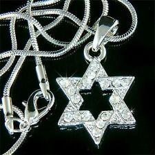 Hanukkah w Swarovski Crystal ~STAR OF DAVID judaism jewish Pendant Necklace Xmas