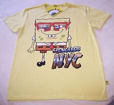 Nickelodeon SpongeBob SquarePants Mens NYC Yellow Printed T Shirt Size XS New