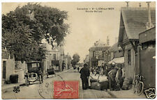cpa : LION-sur-MER, Route de Luc, belle animation, 1907