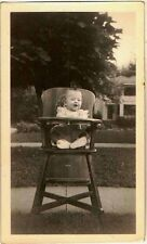 Old Vintage Antique Photograph Baby Sitting in Antique Wooden High Chair
