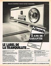 PUBLICITE  1973   LINCOLN   lave linge machine  à laver