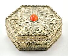 Vintage Chinese Shard Box Tibetan Silver Trinket Treasure Jewelry Mirror Hexagon