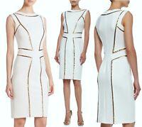 $348 Tadashi Shoji Snow Gold Metallic Seam Scuba Neoprene Stretch Sheath Dress M
