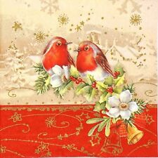 4 Single Lunch Party Paper Napkins for Decoupage Decopatch Craft Christmas Birds