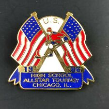VTG U.S. High School ALL STAR Tourney Hockey Pin Chicago, IL 1986 Pinback Flag