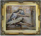 Framed Ballerina on Stage, Hand Painted Oil Painting 20x24in