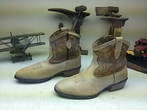 ARIAT TAUPE LEATHER WESTERN COWBOY ROCKABILLY ZIP UP DANCE BOOTS SIZE 9.5 B