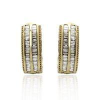 1/2 Ct Baguette Cut Genuine Diamond Hoop Earrings Solid 10K Yellow Gold