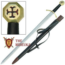 Knights Templar Crusader Arming Sword Leather Scab Carring Belt Red Cross Pommel
