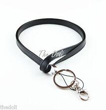 Hot Men Black Faux Leather Neck Lanyard for ID badge Holder
