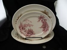 "SET OF 3  CASTLE ON THE LAKE  JOHNSONS BROTHERS PLATTERS  16""  14""  11.5"""