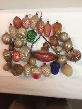 Antique Lot Of 30 Christmas Ornaments Including Santa Blimp,Pine Cones Acorns