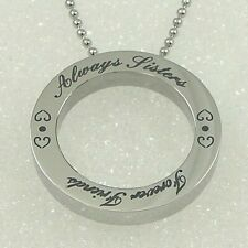 """Always Sisters Forever Friends"" Necklace Stainless Steel Round Pendant Silver"