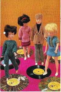 "12""  teenage Dolls clothes knitting pattern.Laminated copy. (V Doll 20)"