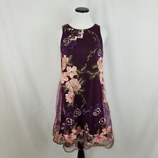 Beige by ECI Wine Floral Embroidered Overlay Dress Formal $128 Size Small