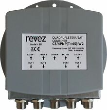 Premium Quad 4 TV Satellite & Terrestrial Combiner / Diplexer / Splitter EU made