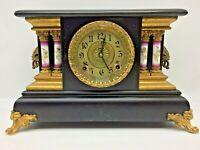Antique E. Ingraham Black Mantel Shelf Clock Runs Great Angel Columns L@@K