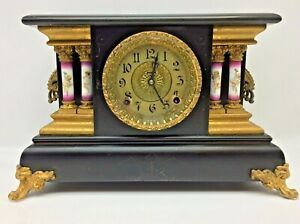 Antique E. Ingraham Black Mantel Shelf Clock Runs Great Angel Columns L@@K