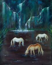 HORSE PARADISE Original oil Painting Stretched Canvas,Hand Signed by artist/COA