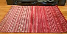 Origins 100% Wool Contemporary Style Rug Fine Stripes 3 Sizes Red