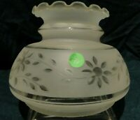 """LS-FF21  Vintage Frosted w/Clear Etched flower Fluted glass Shade 7"""" Fitter"""