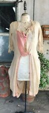 Antique 1920s Cream & Pink Cotton Robe Dress Leaf Print Centennial Costume Vtg