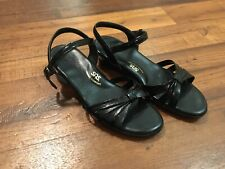 Women's SAS Black Patent Leather Low Wedge Ankle Strap Sandals 9.5 Made in USA