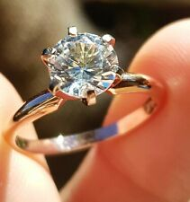 3.3ct Natural VS White Sapphire 14K Solid Rose Gold Engagement Ring Diamond Alte