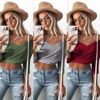 Fashion Women Off The Shoulder Long Sleeve V Neck T-shirt Short Crop Tops Blouse