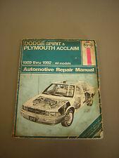 Haynes Automotive Repair Manual Book DODGE Spirit, Acclaim 1989-92 DIY Guide