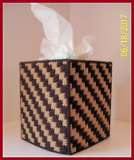 BROWN TAN NURSERY HANDMADE PLASTIC CANVAS TISSUE BOX COVER TOPPER